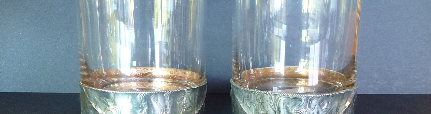 Pewter work on whisky glasses by Margaret Knight